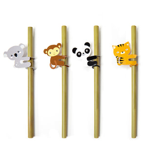 Animal Bamboo Straws