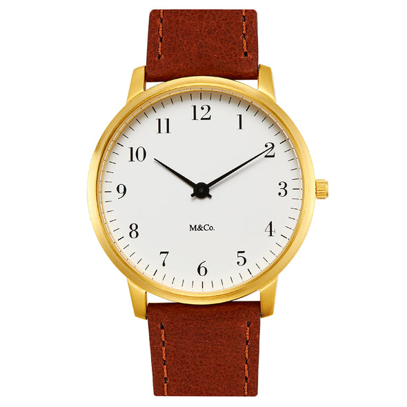 Projects Watches Brass Bodoni M&Co Watch 7401BR-BR40