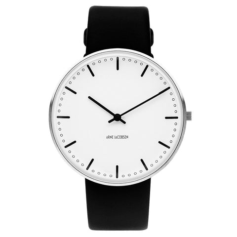 Rosendahl City Hall Watch Black Leather Band 40mm 43441
