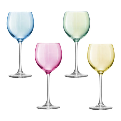 LSA International Polka Wine Glasses Pastel LG932-14-294