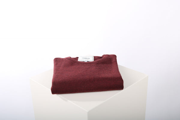 Merino wool crew neck burgundy