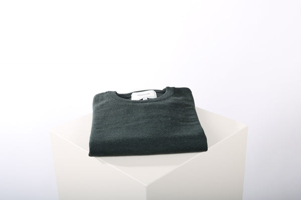Merino wool crew neck forest green