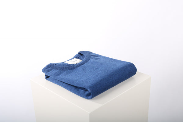 Merino wool crew neck denim blue