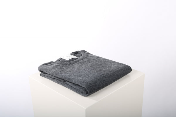 Merino wool crew neck charcoal grey