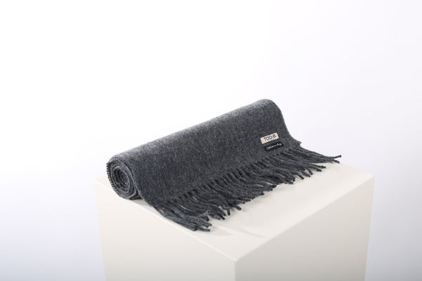 Wool cashmere scarf grey