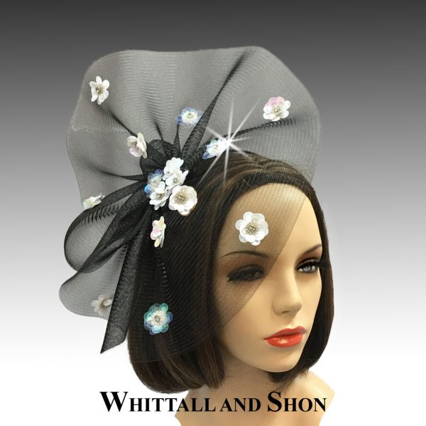 Sequin floral paillette fascinator