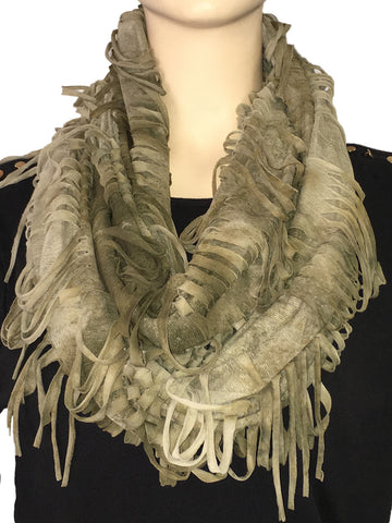SP78 Green Contemporary Fringe Scarf