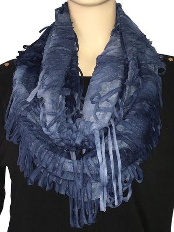 SP78 Blue Contemporary Fringe Scarf