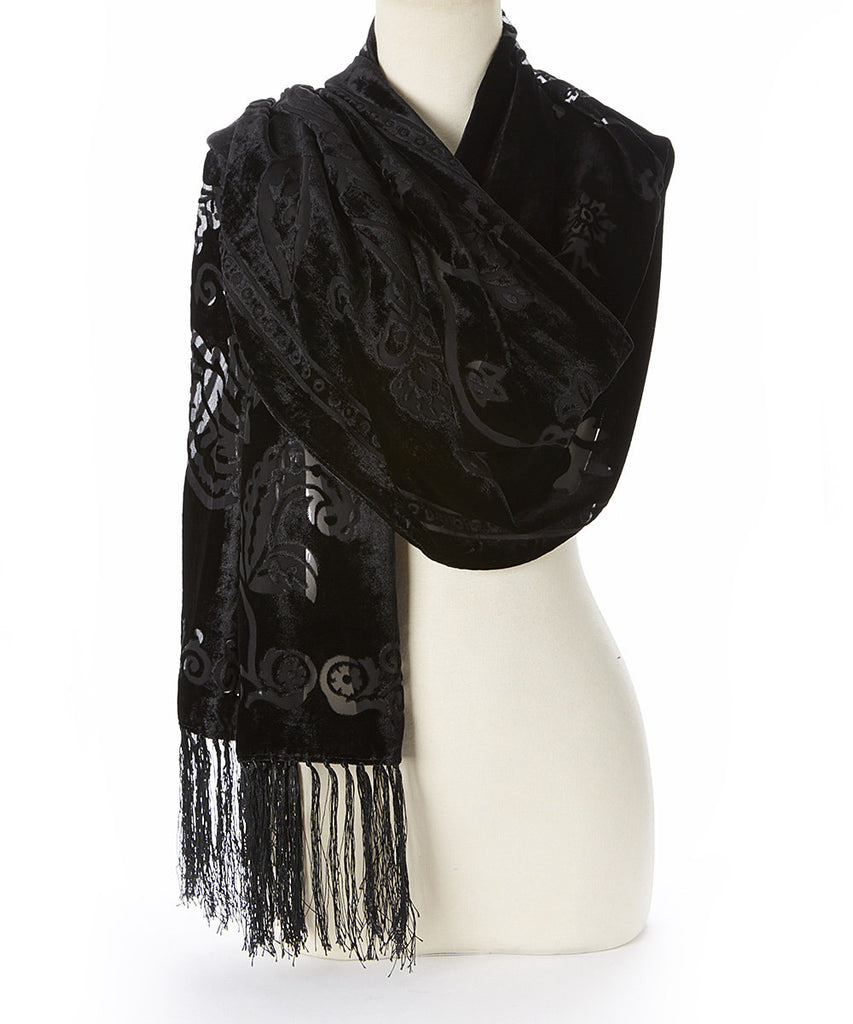 VS79B Cotton Velvet & Silk Fringe Scarf