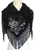VTG18 Black Cotton Velvet & Silk Rose Scarf