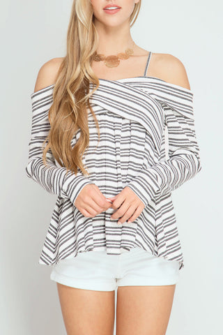 Stripe Print Cold Shoulder Top