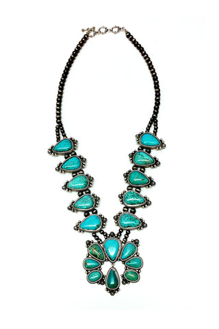 Big Natural Turquoise Squash Blossom Necklace
