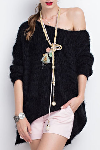 Oversized Pullover Mohair Soft Long Sleeve Sweater Tunic