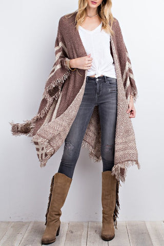 Super Soft Oversized Poncho Style Open Knit cardigan