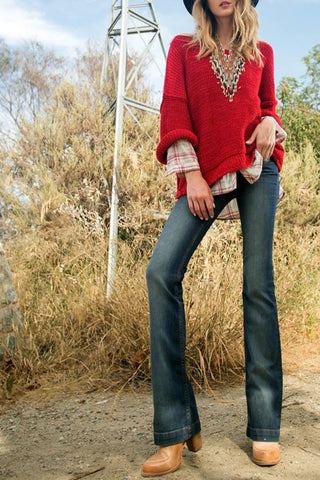 Chunky Knit Sweater with Wide Dolman Style Sleeve