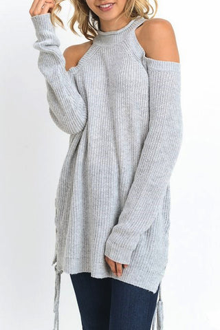 Cold Shoulder Sweater Top with Halter Neck