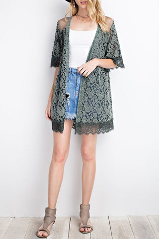 Sheer Lace Knit Cotton Embroidery Open Cardigan