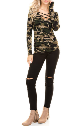 Camouflage Front Lace Up Long Sleeve Top