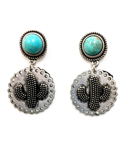 Cactus Turquoise Post Earrings