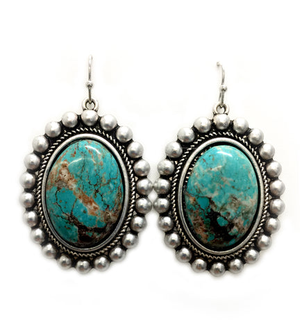 Natural Oval Turquoise Post Earrings