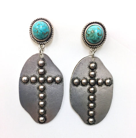 Natural Turquoise Cross Post Earrings