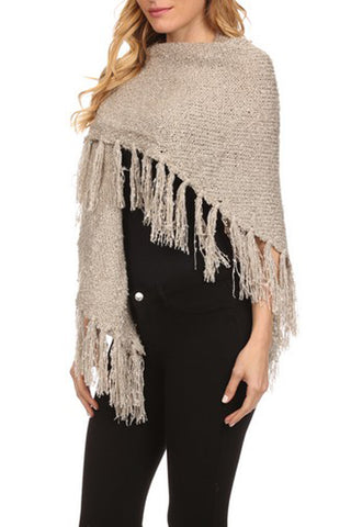 Knitted Poncho Wrap with Asymmetrical Hem and Fringe detail