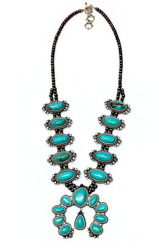 Squash Blossom Natural Turquoise Necklace