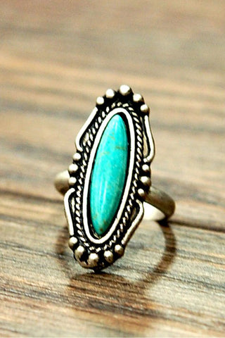 Natural Turquoise Long Oval Stone Adjustable Band Ring