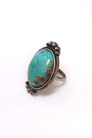 JChronicles Natural Turquoise Oval Stone Adjustable Ring