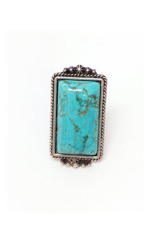 Natural Turquoise Rectangular Stone Adjustable Band Ring