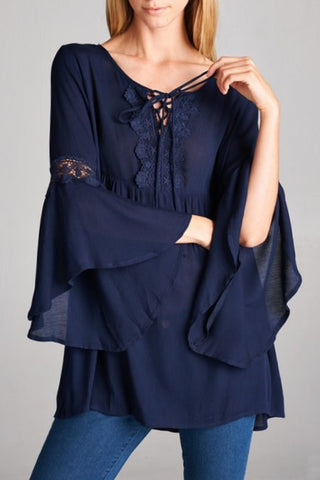 Slight-sheer Solid Top with Lace Trim detail York and Sleeves