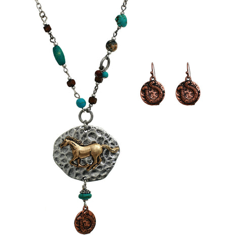 Western Horse Emblem Charm with Copper Horse shoe TQ Beaded Necklace Set