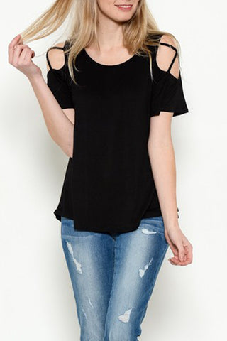 Short Sleeve Cold Shoulder with Criss Cross Top