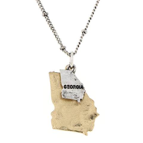 Georgia State Theme Map Two Tone Charm Necklace