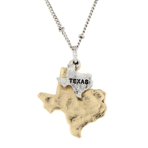 Texas State Theme Two Tone Map Charm Necklace