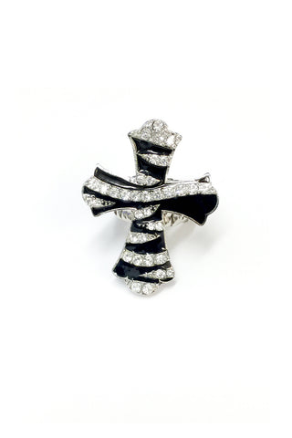 Cross Zebra Pattern Rhinestone Stretch Ring