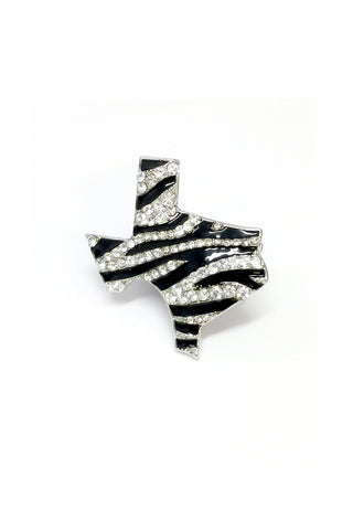 Texas Map Zebra Stretchable Ring