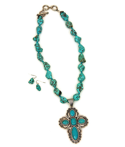 Genuine Turquoise stone Embellished Cross Toggle Necklace Set
