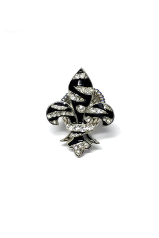 Zebra Fleur de lis Rhinestone Stretch band Ring