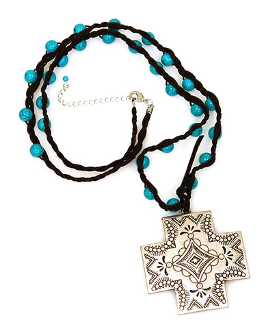Western Burinsh Silver Cross Charm Long TQ Necklace.