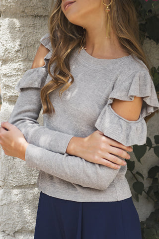 Long Sleeve Cold Shoulder Sweater Top with Ruffled Detail