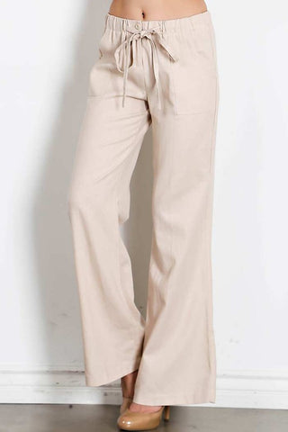 Drawstring Solid Linen Pants