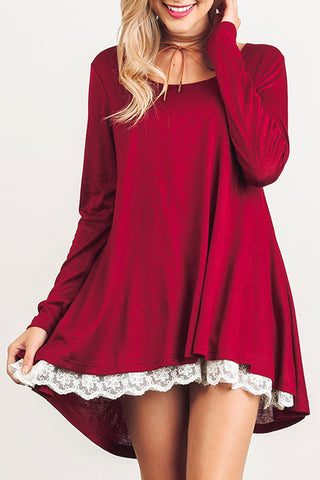 Long Sleeve Knit Top Hi-Low Dress