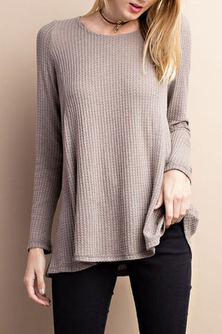 Long Sleeve Sweater Top Knit Tunic with Criss Cross Back