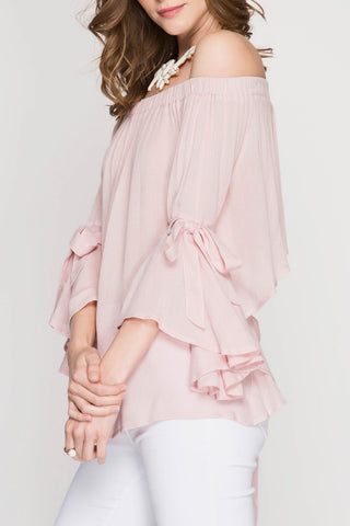 3/4 Bell Sleeve Off the shoulder Top with open back