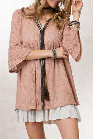 Sheer Crochet Lace Baby Doll Tunic