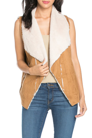 Sleeveless Short Suede Vest with Fur