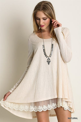 Long Sleeve Knit Top with Lace Dress