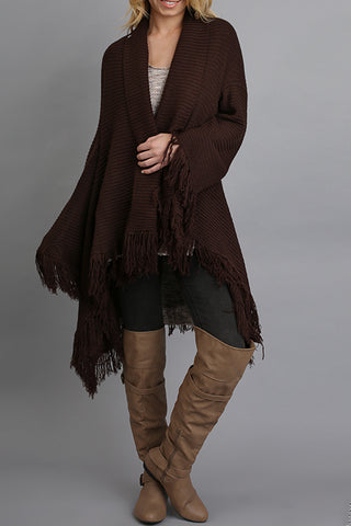 Open Front Sweater Cardigan with Fringe detail