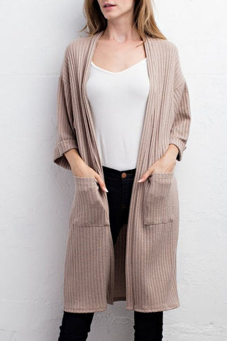 Ribbed Mid-Sleeve Cardigan